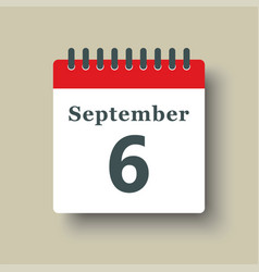 Icon day date 6 september template calendar page vector