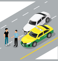 Isometric car accident on road vector