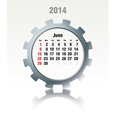 June 2014 - calendar vector image
