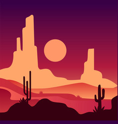 Landscape of sandy desert with rocky mountains and vector