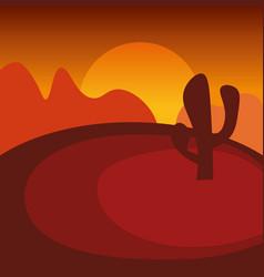 landscape of sunset in dry wild desert vector image