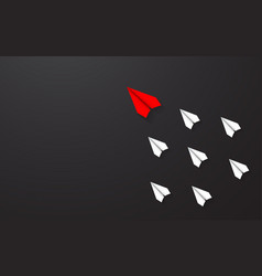 leadership of red paper airplane concept between vector image
