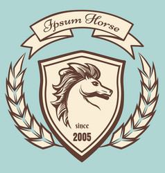 Medieval coat of arms with horse vector