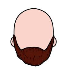 Nice man face with beard and bald vector