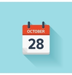 October 28 flat daily calendar icon Date vector image