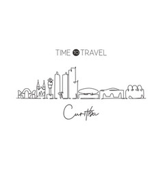 one continuous line drawing curitiba city skyline vector image