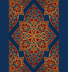 Oriental red and blue ornament vector