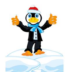 penguin in suit vector image