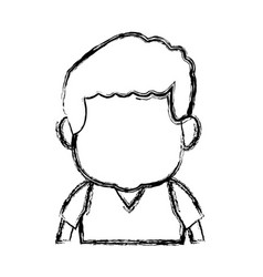 Portrait little boy cartoon kid image vector