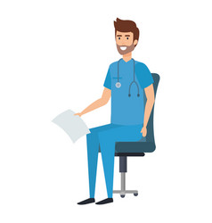 Practitioner sitting in office chair with medical vector