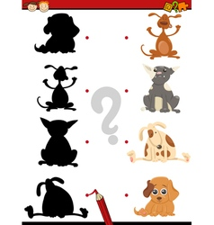 Preschool shadow task with dogs vector