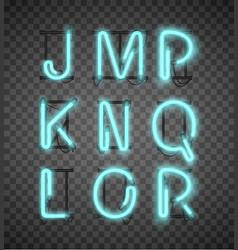 realistic blue neon alphabet set street bars vector image