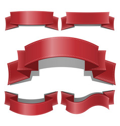 red glossy ribbon banners set web ribbons vector image