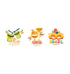 Rio carnival logo design set festival badges with vector