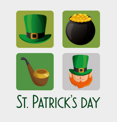 Saint patrick day set icons vector