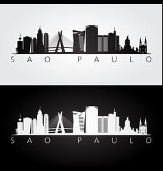 sao paulo skyline and landmarks silhouette vector image