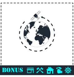 Satellite icon flat vector