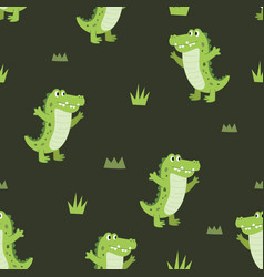 seamless pattern cute happiness alligator vector image