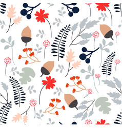 Seamless pattern wild spring flower and leave vector