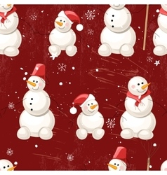 Seamless vintage dark red pattern with winter vector image
