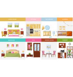 Set 8 interior design house rooms vector