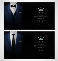 Set of blue tuxedo business card templates with bl vector