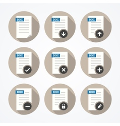 Set of doc file icons with long shadows vector image