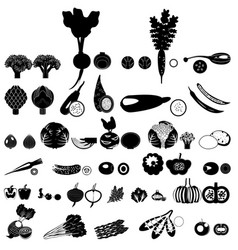 set of icons of vegetables of black color vector image