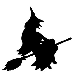 silhouette of a witch on a broomstick on halloween vector image