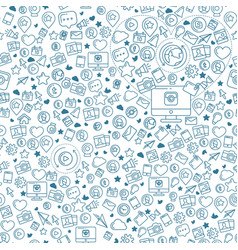social media blue seamless pattern vector image