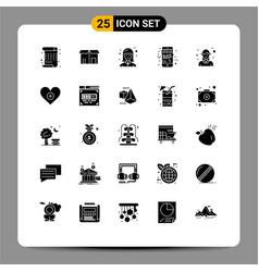 Solid glyph pack 25 universal symbols vector