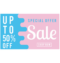 special offer sale up to 50 off blue and pink bac vector image