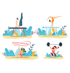 Sportive people do tricks with gym equipment set vector