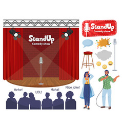 Stand up comedy show stage comedian cartoon vector
