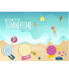 Summer vacation banner with top view of people vector
