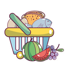 Supermarket grocery products cartoon vector