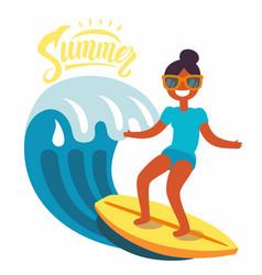 Surfer girl rides waves vector