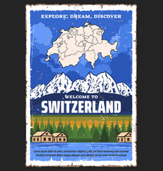 Switzerland travel swiss map and alpine moutains vector