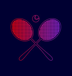 tennis racket sign line icon with vector image