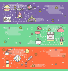 thin line art cooking web banner template vector image