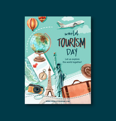 Tourism day poster design with globe camera bag vector