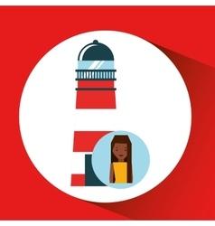 tourist girl cartoon lighthouse design graphic vector image