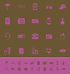 Travel luggage preparation color icons on brown vector