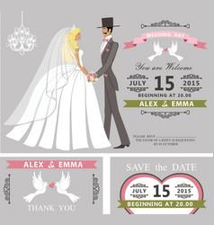 wedding invitation setretro cartoon bride and vector image