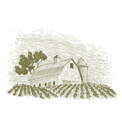 Woodcut Barn and Silo vector image