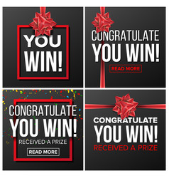 you win banner set festive sign realistic vector image