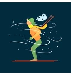 Young Boy Skiing vector