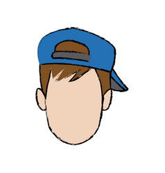 young man face cartoon profile people image vector image