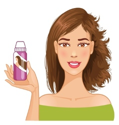 Young woman shows effect of shampoo vector