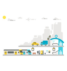 flat design railway station vector image vector image